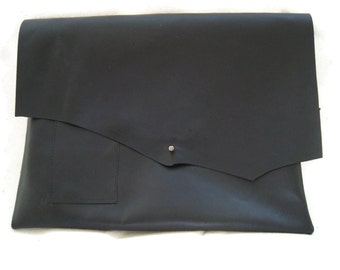 Black Leather Ipad Sleeve with Pen Pocket and Card Holder
