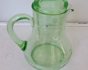 Vintage Depression Green Vaseline Glass/Bedside Tumble Up Set/Carafe w/Tumbler