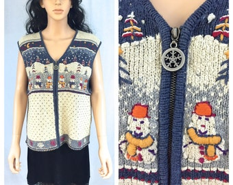 Vintage Woolrich Sweater Vest. Christmas Holiday Snowman. Snowflakes. Navy Blue. Beige. Large. Zip Up Sweater Vest. Snow. Winter. Silk