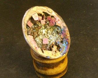 METALFLAKE  Dragons Egg - Bismuth Geode Crystal Filled Beautiful Unique Gift OOAK Art gteg61