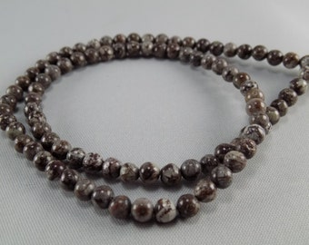 Brown Snowflake Jasper Round Beads - 4mm - sold per strand - #1B269