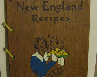 Vintage Wood Cover Recipe Cookbook - Fine Old New England Recipes - 1968