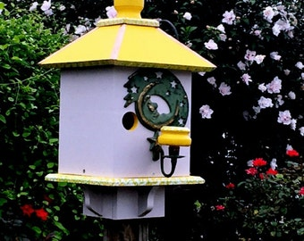 Large Birdhouse, Whimsical Bird House, Handcrafted Bird House