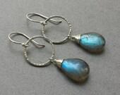Reserved: Custom Order for S. - Smooth Labradorite Dangles on Handmade Textured Circle Earrings