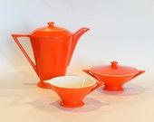 RESERVED for M*******O**** - Atomic Art Deco Salem Streamline Coffee Pot, Cream & Sugar in Mandarin Orange, Grade A