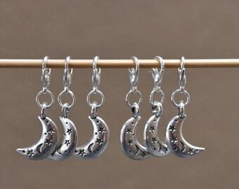 Crescent Moon Locking Stitch Markers - Set of 6