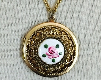 Vintage Locket Guilloche Enameled Rose Necklace Gold Chain