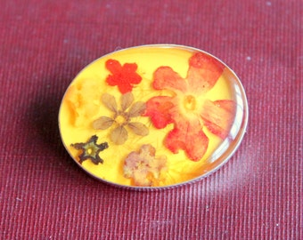 Vintage Dried Flower Brooch STERLING Silver