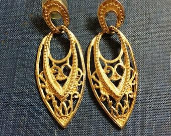 Gold Dangle Earrings Vintage Tribal Pierced