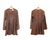 Copper Dress Metallic Mini 70s Dress Party Mod Sparkle Long Sleeve LACE UP 1970s Disco Dress Corset Trapeze Glam Minidress Vintage Small XS