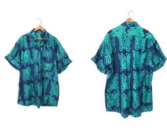 Mens Tribal Batik BUTTERFLIES Shirt Ethnic Button Up Resort Wear Vacation Shirt Green Blue Bali Leaf Short Sleeve Boho Shirt XL