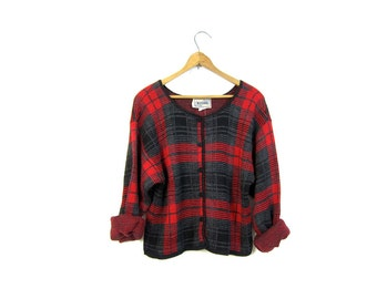 Cropped 90s Plaid Sweater Button Up Cardigan Sweater Red Black Grey Crop Knit Top Preppy School Girl Jumper Womens Small Medium