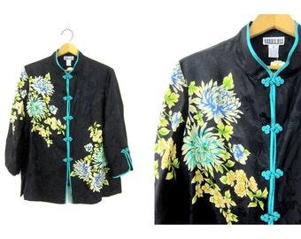 SILK shirt Kimono style frog buttons top Black flowers floral print Long sleeve top Ethnic blouse women's size Medium