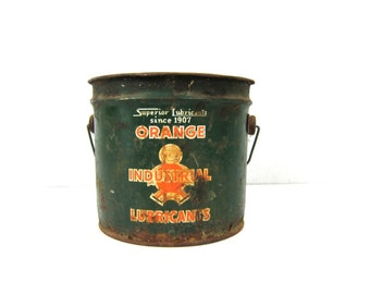 Superior Lubricants Orange Industrial Lubricants Bucket vintage Industrial Green metal Pail Rustiy Advertising Orange Solid Oil