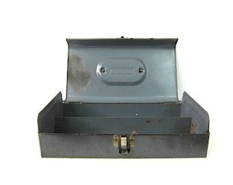 Craftsman Tool box Small Vintage black Metal Industrial Metal ToolBox distressed garden box