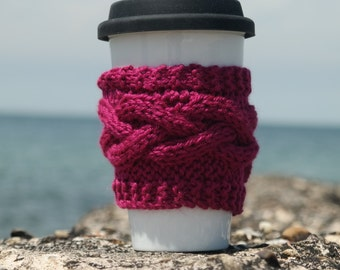 Knit coffee sleeve, knit cup cozy, knit coffee mug cozy, tea cozy, cup cozy, travel mug cozy, knit cup cozy, knit mug cozy, coffee, tea