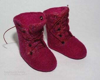 9 Doll boots felt wool 9-9,5cm wine-сolor