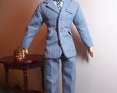 Grey Pinstriped Suit, Dress Shirt and Silk Tie Outfit for Tonner Athletic Body Men Dolls