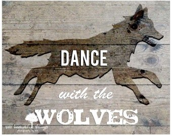 SM Dance With The Wolves Photo Print Wood Background Cabin Man Cave Nursery Home Decor  fPOE poe team postcards 4x6 5x7 8x10