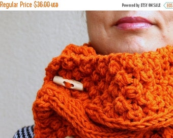 50% CLEARANCE SALE FREE Shipping Cowl Scarf, Pumpkin Chunky Scarf, Burnt Orange Cable Scarf, Hand Knit Cowl, Neck Warmers