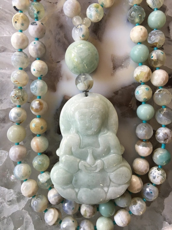 Amazonite and Indian Bloodstone Mala/Prayer Beads