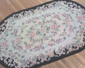 Vintage Hooked Wool Rug * Pink & Black * Shabby Cottage Chic * Original Tag * Old Farmhouse