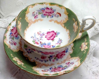 Teacup ABJ Grafton Vintage Tea Cup & Saucer Pink and Blue Flowers Floral Canton Pattern Bone China Made in England Elegant Dining Super Gift