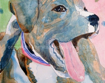 Made to Order Boxer dog art, original watercolor painting, Texas artist, pet portrait