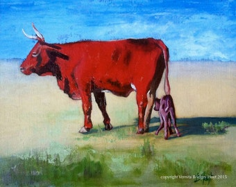 16 x 20 Animal Art, Red Cow, Newborn Calf, Texas artist, collectible, original oil painting
