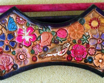 Dark Purple Border Leather Hair Barrette with Colorful Flowers and Bird and Butterfly