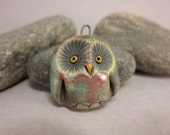 Copper Patina Owl...Raku Pendant