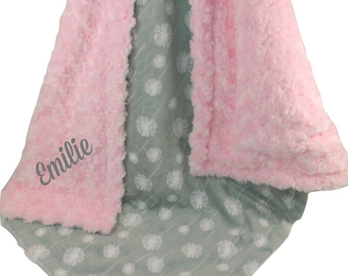 Light Pink Rose Swirl and Gray Dandelion Print Minky Baby Blanket - Gray and Pink Blanket available in three sizesCan Be Personalized