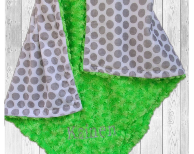 Gray Polka Dot and Lime Swirl Minky Blanket, Can Be - available in three sizesCan Be Personalized