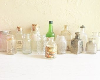 Collection of Unique Rare Old Clear Glass Apothecary Bottles and Jars Some with Tops Lids
