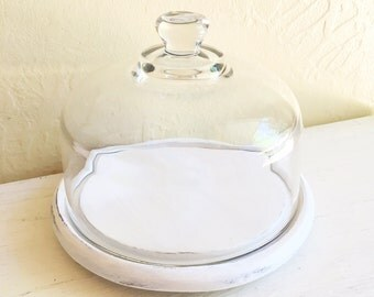 Heavy Clear Glass Cloche with Shabby Chic White Wood Base Decorative Farmhouse Style