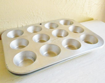 Pair of Vintage Metal Mini Muffin Cupcake Baking Pans Silver Aluminum Tin
