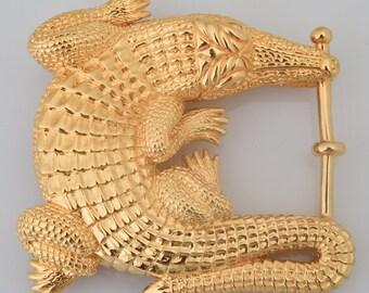 Barry Kieselstein Cord GRAND Alligator Belt Buckle - Art Bronze