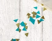 Teal & Gold Triangle Confetti - Hand-Cut Triangle Confetti - Wedding Table Decor - Geometric Triangle Confetti - Metallic Gold Teal Confetti
