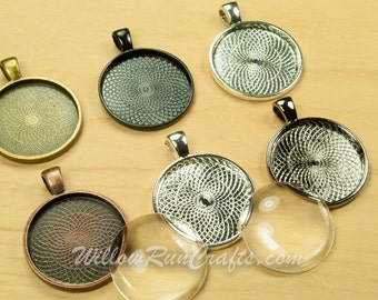100 pcs 25mm Circle Pendant Trays 1 Inch with 100 Glass Cabochons in SIlver, Black, Gun Metal, Ant Silver, Antique Copper or Antique Bronze