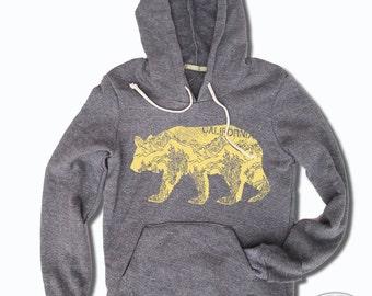 Womens California Bear Alternative Apparel Fleece Eco-Grey Pullover Hoody S M L (limited print run)