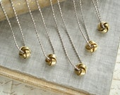 Bridesmaid Necklace Set. Bridesmaid Gift Set of 5 Love Knot Necklaces. Tie The Knot Necklaces. Vintage Brass Love Knot Jewelry. Simple Gift.