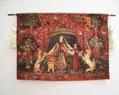 Dollhouse tapestry, Tudor tapestry, Lady and Unicorn, . Medieval  Tapestry hanging  , twelfth scale dollhouse miniature