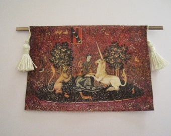 Dollhouse Tapestry, Tudor tapestry, Wall hanging,  Medieval  Tapestry hanging, twelfth scale dollhouse miniature