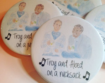 Community pin badge - Troy and Abed on... Rucksack, jumper, t-shirt or jacket