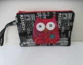Small Owl Pouch, Zipper Pouch, iPhone Wristlet Wallet, Bright Colored Batik Pouch, Appliqued Owl Zippered Pouch, Small Zippered Clutch