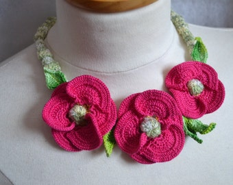 Pink Fuchsia poppy crochet necklace choker flower floral cotton freeform