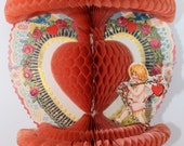Vintage Valentine Honeycomb Tissue Paper Greeting Card,1920's to 1930's Era