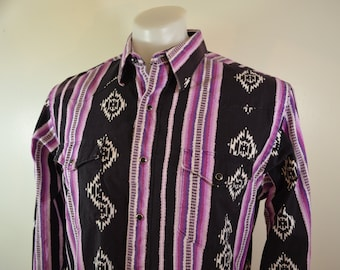 Vintage WRANGLER western cowboy cut shirt PURPLE made in usa