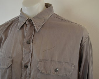 Vintage Penney's BIG MAC Grey work shirt 1950's medium Sanforized Vat Dyed