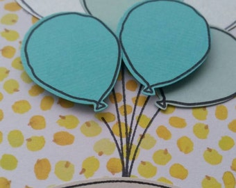 Wattle and blue balloons - hand made greeting card & envelope - blank inside